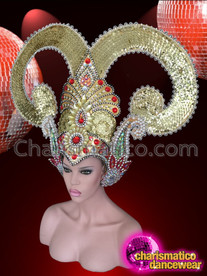 CHARISMATICO Exotic Beaded Ruby Crystal Accented Golden Glitter Drag Queen Headdress