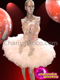 CHARISMATICO Halter Style Silver Accented White Sequin Feathered Latin Dance Dress