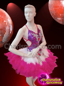 CHARISMATICO Halter Style White Accented Fuchsia Sequin Feathered Latin Dance Dress