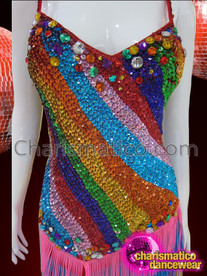 CHARISMATICO Bold Diagonal Striped Rainbow Sequin And Fringed Latin Dance Dress