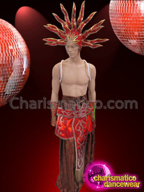 CHARISMATICO Bold Red and Brown Kilt And Headdress Costume Set For Men