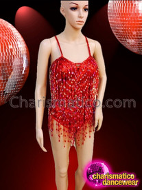 CHARISMATICO Classic Styled Red Beaded Fringe Showgirl's Costume Base Dance Leotard