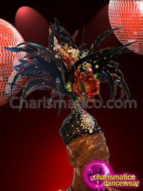 CHARISMATICO Summery Orange Floral Accented Black Feathered Turban Style Diva Headdress