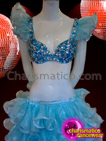 CHARISMATICO Ice Blue Crystallized Bra And Organza Ruffle Skirt Burlesque Set