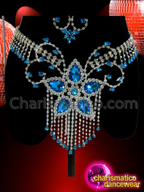 CHARISMATICO Showgirl's Blue Crystal Accented Rhinestone Cage Bra And Thong Set
