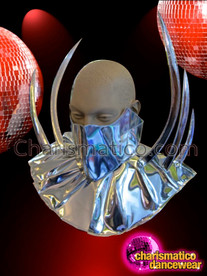 CHARISMATICO Male Liquid Metal Silver Collar Style Half Mask With Spikes