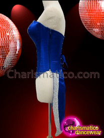 CHARISMATICO Royal Blue Tail Cabaret Corset With Silver Sequin V-Front Trim