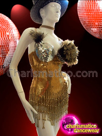 CHARISMATICO Vintage Gold Sequin Dancer Leotard With Beaded Fringe and Feather Accents