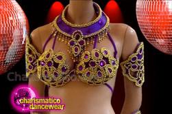 CHARISMATICO Richly Embellished Gold Bead Accented Purple Brazilian Carnival Samba Costume