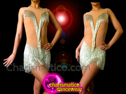 CHARISMATICO Nude Illusion Silver Beaded Fringe Accented Sleeveless Latin Dance Dress