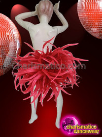 CHARISMATICO Exotic Flashy Showgirl's Ruby Crystal Covered Red Feather Belt Buttock