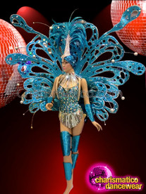 CHARISMATICO Silver Accented Blue Diva Costume Set With Headdress And Backpack