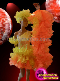 CHARISMATICO Asymmetrical One Shouldered Yellow Sequin Dress With Orange Organza Ruffles