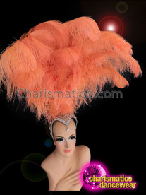 CHARISMATICO Crystal Accented Peachy Orange Ostrich Feather Diva Showgirl Cabaret Headdress