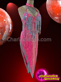CHARISMATICO Halter Style Silver Accented Hot Pink Sequin Latin Dance Dress