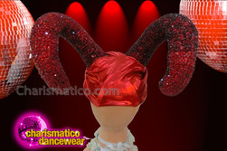 CHARISMATICO Satin Turbaned Ruby Red Crystal Encrusted Maleficent Ram Horn Headdress