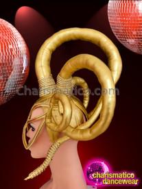CHARISMATICO Futuristic Triple Horn Padded Shiny Metallic Gold Diva Mask Headdress