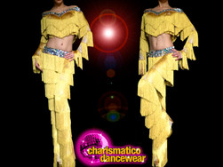 Chelsea samba 'Dance With the Stars' Off shoulder top + Gold Fringe Dance Pants