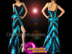 CHARISMATICO Figure Flattering Sky Blue And Black Iridescent Sequin Pageant Gown