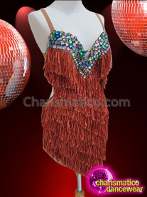 CHARISMATICO Diva's Iridescent Crystal Accented Brown Fringe Asymmetrical Hem Salsa Dress