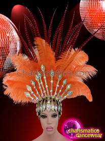 CHARISMATICO Tall Pheasant Plume Accented Orange Ostrich Feather Crystallized Diva Headdress