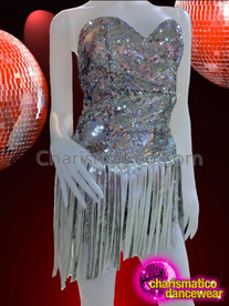 CHARISMATICO Metallic Shimmering Silver Sequin Strapless Dance Dress With Fabric Fringe