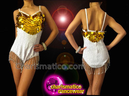 CHARISMATICO White Sequin Beaded Fringe Dance Leotard With Golden Jumbo Sequins