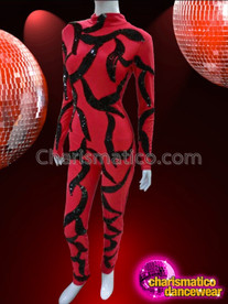 CHARISMATICO Long Sleeve Red Catsuit With Shimmering Black Vine Sequin Pattern