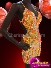 CHARISMATICO Iridescent Orange And Gold Jumbo Sequin Halter Latin Dance Dress