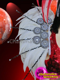 CHARISMATICO Red Accented White Feather Showgirl's Headdress And Matching Backpack Collar
