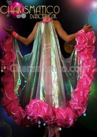 Pink Ruffle Organza Drag Queen SHOW GIRL Cabaret BOA WING