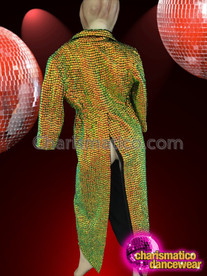 CHARISMATICO Green To Gold Iridescent Bead Drag Queen Trench Style Overcoat