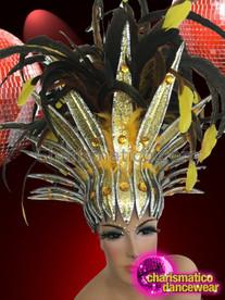 CHARISMATICO Sleek Silver Edged Yellow Tipped Black Feather Cabaret Showgirl Headdress