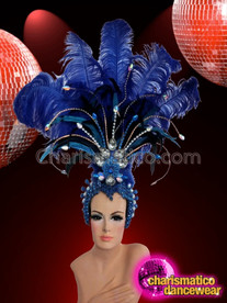 CHARISMATICO Crystal Accented Royal Blue LED Light Up Showgirl's Cabaret Headdress
