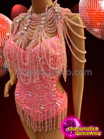 CHARISMATICO Beaded Fringe Coral Pink Diva Leotard With Matching Gothic Necklace