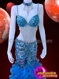 CHARISMATICO Iridescent Crystal Embellished Blue Sequin Bra With Matching Long Skirt