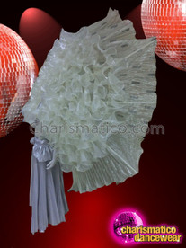 CHARISMATICO Huge Shimmering Iridescent Creamy White Organza Ruffle Diva Cabaret Backpack
