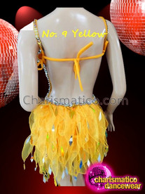 CHARISMATICO Halter Style Silver Accented Yellow Dance Dress With Organza Skirt