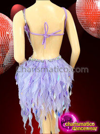 CHARISMATICO Halter Style Silver Accented Purple Dance Dress With Organza Skirt