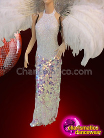 CHARISMATICO Exotic Iridescent White Pageant Gown With Matching Headdress And Collar