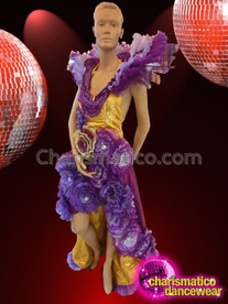 CHARISMATICO Golden Yellow Based Multi-Tone Purple Floral Gown With Neck Ruffles