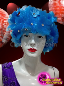 CHARISMATICO Bright Blue Shimmering Organza Flower With Iridescent Crystal Centers Cap