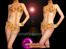 CHARISMATICO Exotic Beaded Orange And Gold Showgirl's Bra With Matching Thong