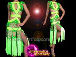 CHARISMATICO Diva's Two Tone Neon Green Cutout Salsa Dance Fringe Dress