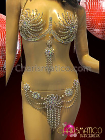 CHARISMATICO Showgirl's Delicate Rhinestone Crystal Cage Bra And Matching Thong Set
