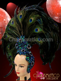 CHARISMATICO Brilliant Iridescent Beaded Asymmetrical Peacock Plume Accented Black Feather Headdress