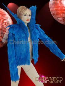 CHARISMATICO High Collared Rich BLUE Soft Feather Diva's Cabaret Jacket