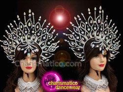 CHARISMATICO Fantastic Aura Shaped Crystal Studded Glitter Budget Cabaret Showgirl's Headdress