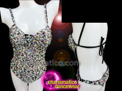 Charismatico Showgirl Sexy Party Backless Black Back string Leotard with Silver Sequins