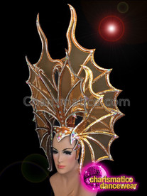 CHARISMATICO Butterfly Inspired Orange Headdress with Silver details and Secure Crown
